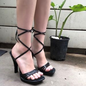 "Vintage Tony-""K"" Open Toe Lace Up Grommet Heels"
